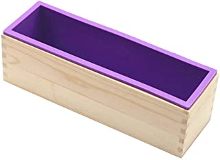 DD-life Flexible Rectangular Soap Silicone Loaf Mold Wood Box for 42oz Soap Making Supplies
