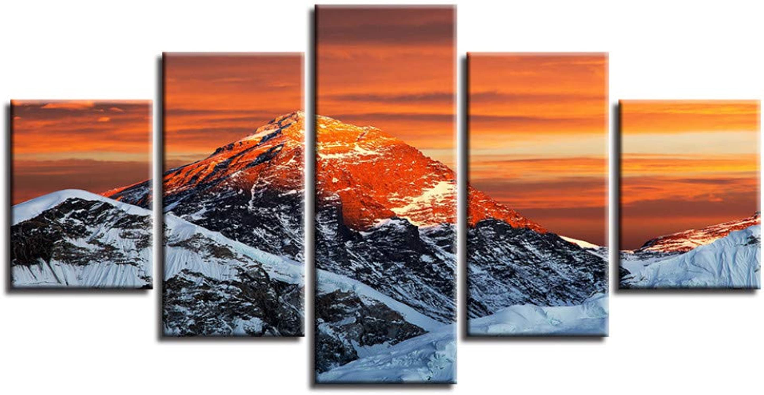 WZYWLH Marco del Cartel Sala de Estar HD Impreso Moderno 5 Panel Sunset Snow Mountain Pintura Wall Art Modular Canvas Pictures Home Decor