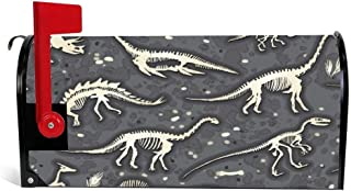 DKISEE Magnetic Mailbox Cover Colorful Dinosaur Dino Bones Animal Mailbox Wraps Post Letter Box Cover 18