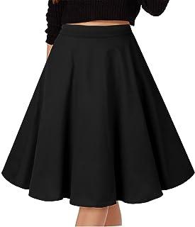 التنانير العتيقة المطويات للنساء GOOBGS Musever تنورة عادية متوسطة الطول نمط 1 S