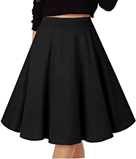 Musever Women's Pleated Skirts Print Casual Midi Skirt