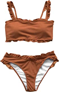 Women's Striped with Ruffle Trim Bikini