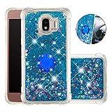 FAWUMAN Funda Samsung Galaxy Grand Prime Pro TPU Silicona Purpurina Carcasa,Funda para teléfono móvil de Arena movediza líquida en con Base de Anillo de Diamantes (Amor Azul)
