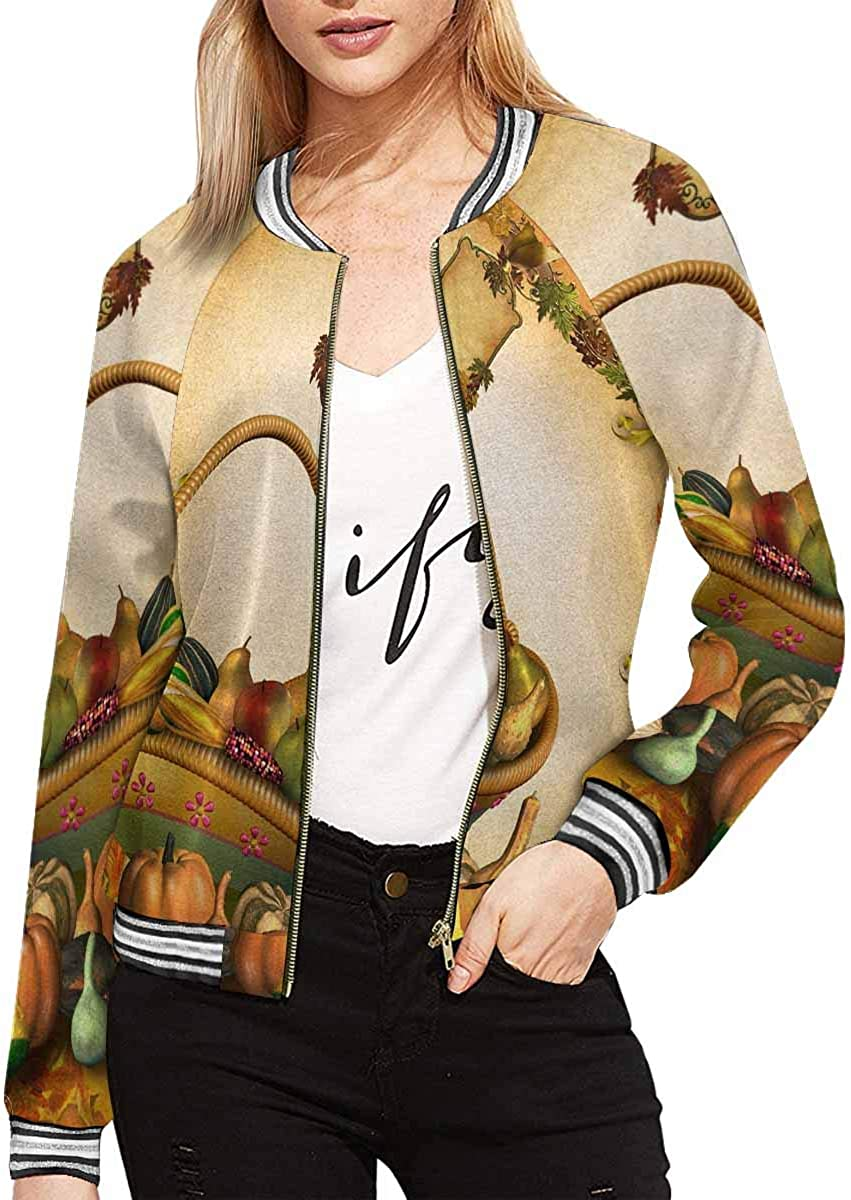 InterestPrint Women's Happy New Year and Merry Christmas Jacket Long Sleeve Zipper