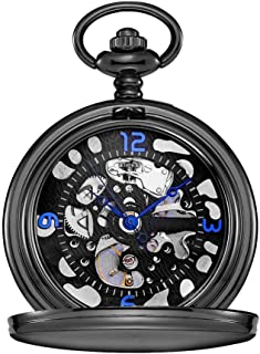 Lwieui Reloj de Bolsillo Reloj de Bolsillo Clamshell Mecánico Romano Tallado Hueco Clásico Maquinaria Negro (Color : Blac...