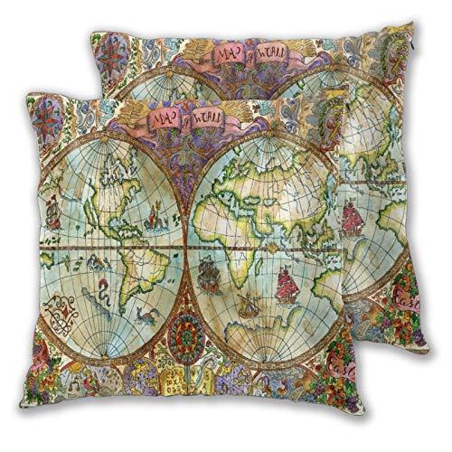 NANITHG Juego de 2 Fundas de cojín,Ilustración Vintage con Mapa del Atlas Mundial en Papel Antiguo,Decorativa Cuadrado Suave Funda de Almohada Sofá Sillas Cama Decoración para Hogar,45x45cm