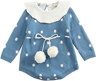 Feicuan Mono beb/é Striped Algod/ón Outfit pijamas trajes Casual Manga Larga Toddler Bodysuit 1-12 Mes