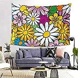 ZGPOJNDKI Colorido tapiz floral para colgar en la pared, decoración del hogar, tapices de arte para la universidad, estudiantes, dormitorio, sala de estar, dormitorio, 152 cm de alto x 200 cm de ancho