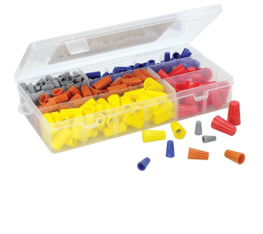 320 PCS Twist-On Wire Connector Assortment - Grey, Blue, Orange, Yellow, and Red Easy Twist-On Ribbed Cap - UL & CSA Listed