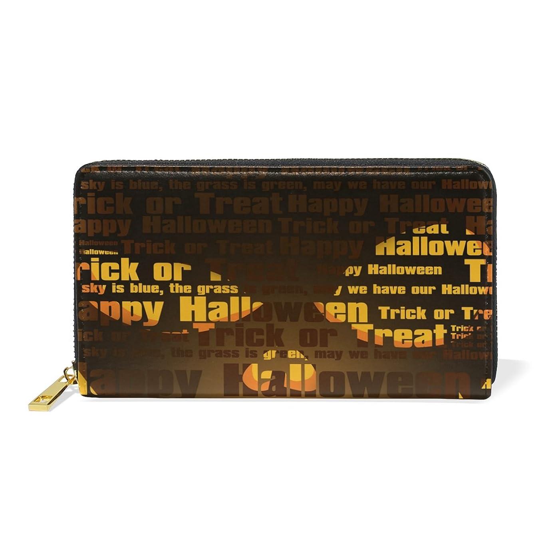からに変化する行う好きであるマキク(MAKIKU) 長財布 レディース 本革 大容量 ラウンドファスナー 文字柄 カボチャ柄 ハロウィンテーマ カード12枚収納 プレゼント対応