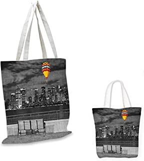 "Black and White shopping bag NYC Skyline from Liberty State Park with Vibrant Air Balloon in Sky Print foldable shopping bag Multicolor. 12""x14""-10"""