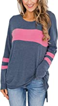 Hilltichu Women's Color Block Long Sleeve Shirt Pullover Round Neck Side Split High Low Tunic Tops
