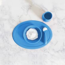 ezpz Tiny Collection Set (Blue) - 100% Silicone Cup, Spoon & Bowl with Built-in Placemat for First Foods + Baby Led Weanin...