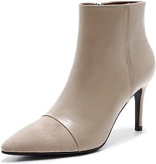 Autumn and Winter Women's Boots Leather Sharp Heel High Heels Low Cylinder Women's Short Boots