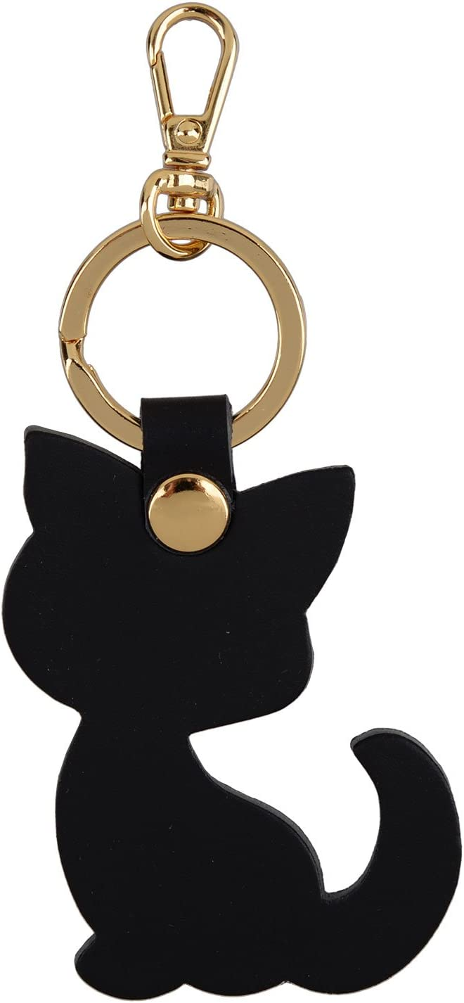 Richbud Full Grain Leather Cat Key Chain Ring Vegetable Tanned Leather rbk028 (Black Cat Gold)