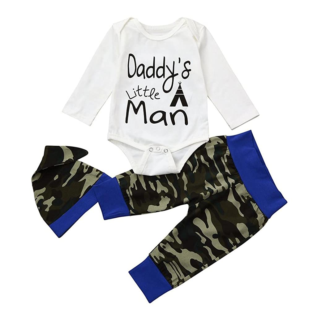 Wakeu Newborn Baby Boy Romper Daddy's Little Man Elephant Pants Hat Outfit Set