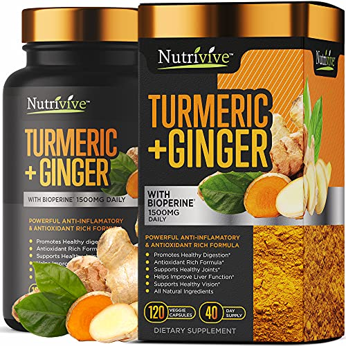 Turmeric Curcumin with Ginger, Anti Inflammatory Supplement with Black Pepper, 95% Curcuminoids with BioPerine 1500mg, Natural Immune Support, Tumeric Ginger Supplements by Nutrivive, 120 Capsules