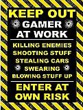 P & E Print Keep Out Gamer at Work Retro Blechschild Neuheit Blechschild Geschenk Schild