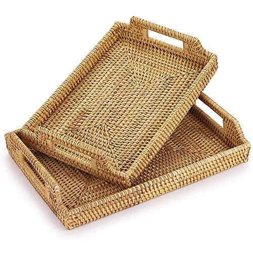 ZLASS Rattan Tray, Hand-Woven Rectangular Serving Tray, Coffee Table Storage Box With Handle, Used For Home Decoration Snack Fruit Bread Storage Tray, Set Of 2