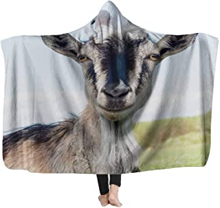 Capsceoll Hooded Throw Blanket 50X60 Inches Weighted Blanket,Goat The Blue Sky Background Warm Blanket for Kids Baby Child...