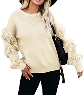 chimikeey Women's Ruffle Bell Sleeve Sweater Puff Long Tassel Sleeve Knit Casual Pullover