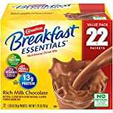 Powdered nutritional drink: Snack or breakfast, drink with skim milk or add to smoothies, Carnation Breakfast essentials powdered drink mix provides 13 grams of protein when mixed with 1 cup of fat-free milk. Carnation breakfast essentials original: ...