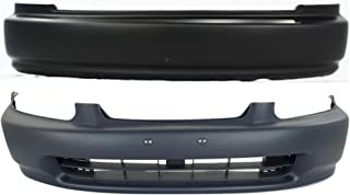 Bumper Cover Compatible with HONDA Civic 1996-1998 Front and Rear Primed Dx/Cx Models Hatchback