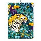 TYLPK Tiger Vogel Blume nordisch Poster und Druckbild leinwand gemälde a3 50x70 cm no Framed