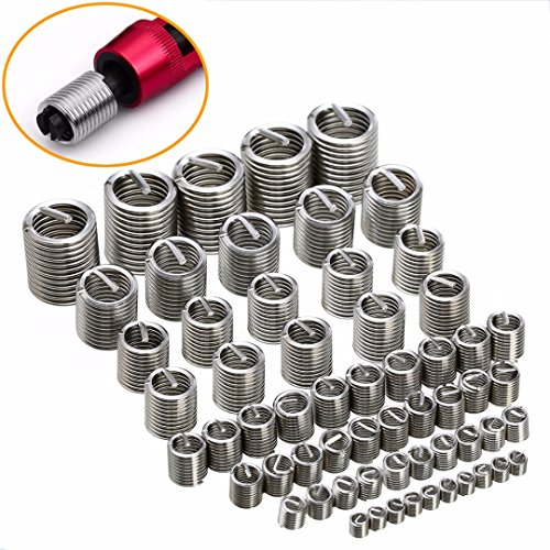 Zerone Thread Repair 60 Pieces Thread Type Helicoil Stainless Steel Threaded Sleeves Metric M3 M4 M5 M6 M8 M10 M12