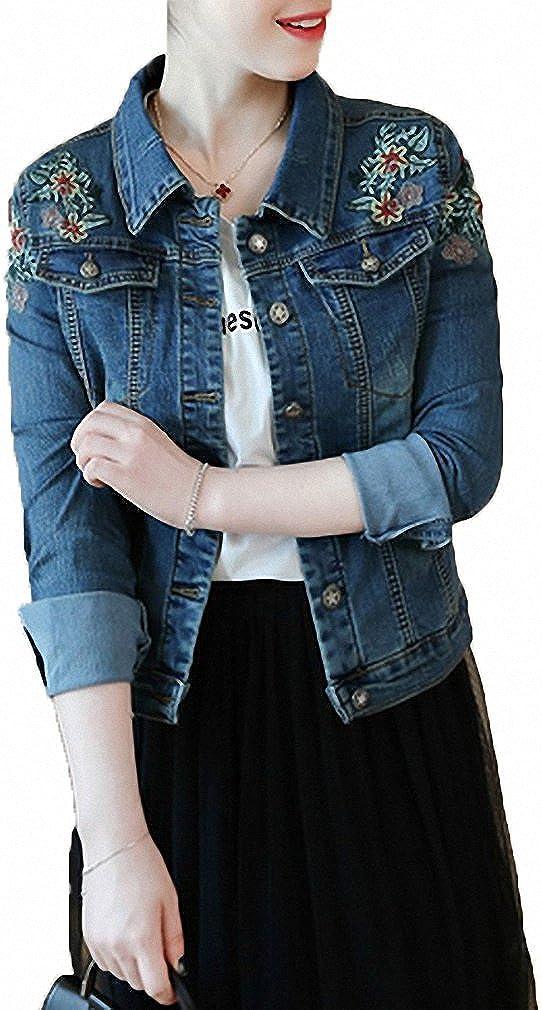 超歓迎された Womens Denim Jacket 爆安 Vintage Embroidery Plus Size Bomber J Floral