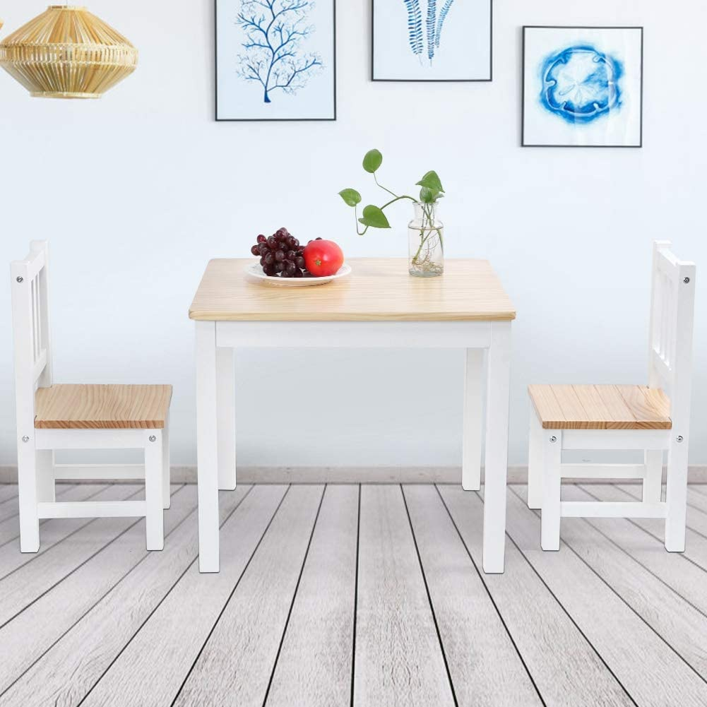 Ejoyous 3 Piece Wood Dining Table Set with Chairs Solid Wood Square Table with 2 Chairs for Kitchen Dining Room Small Spaces Furniture White