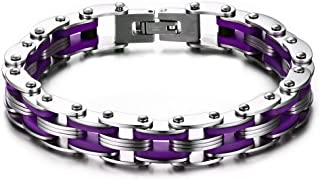 VNOX Stainless Steel Purple Silicone Men's Bicycle Bike Chain Bracelet for Men,Bold and Chunky