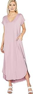 Entro Women's Short Sleeve V Neck Knit Maxi Dress with Hi Low Hem