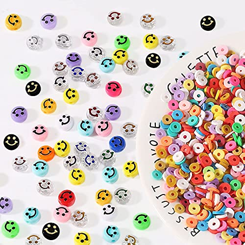 1200 Pcs Smiley Face Beads, Colorful Polymer Clay Beads Happy Face Spacer...