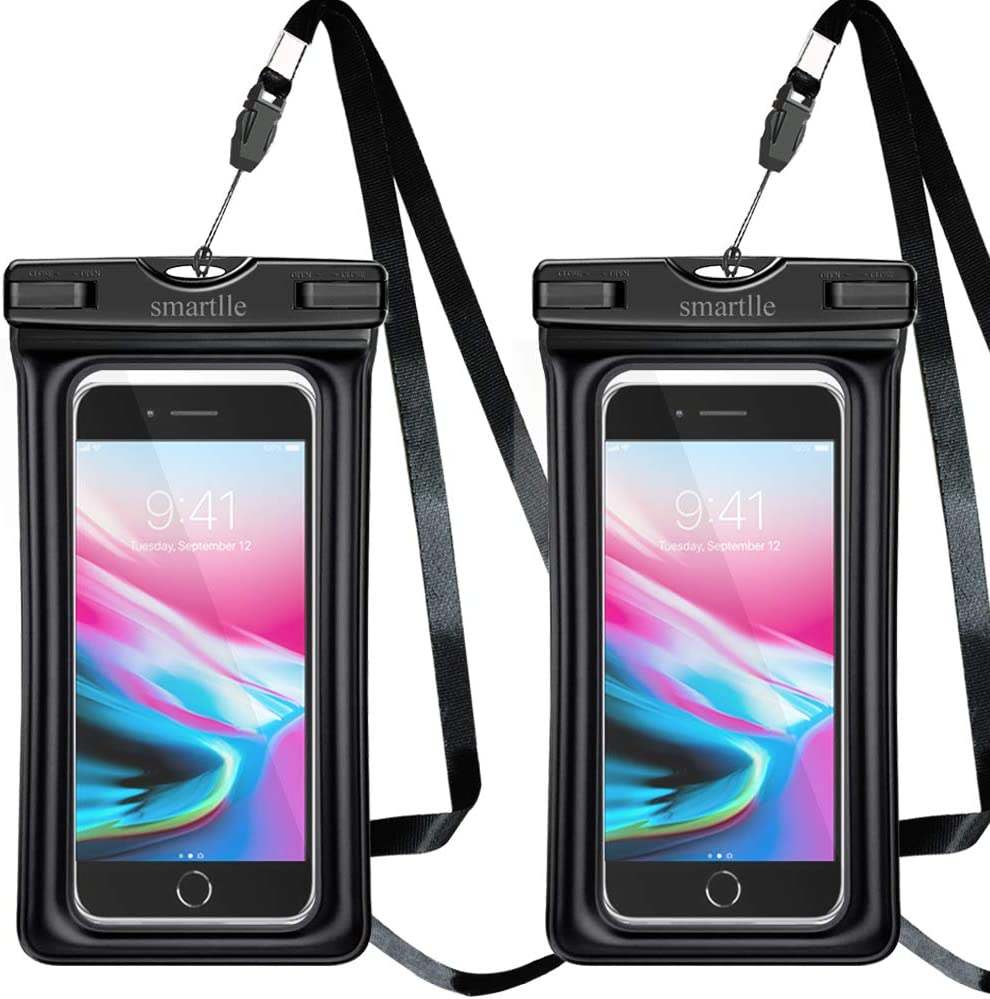 smartlle Waterproof Phone Pouch Floating, Waterproof Phone case, Dry Bag for iPhone Xs Max/XR/XS/X/8/8 Plus/7/6/7Plus Samsung Galaxy s10/s9 + Note 9/8, Moto, Pixel up to 6.5'' Soft TPU Pouch - 2 Pack