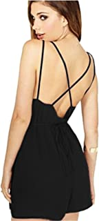 f238138842ce Moxeay Women V Neck Backless Short Playsuit Rompers