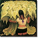 Artistic Home Gallery Girl with Lilies by Diego Rivera Premium Stretched Canvas Art (27 in x 27 in, Ready-to-Hang)