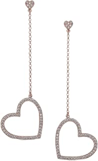 Womens Pave Heart Linear Drop Earrings, Clear/Rose Gold