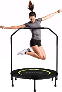 Gonex Exercise Mini Trampolines, 40 inch Foldable Rebounder Trampoline for Adults and Kids, Fitness Workout Trainer with Exercise Bands, Springs Cover & Removable Handrail