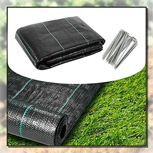 XUEXUE Unkrautvlies, Gartenvliese UV-stabilisiert Permeatwasser Bodenmembranabdeckung, Für Gartenpflanze Mit 100 Sicherungsstiften (Color : Black, Size : 4X20M)