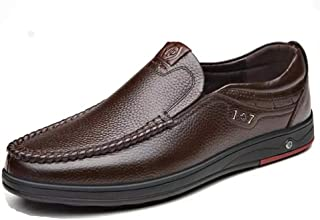 Men Business Casual Shoes Breathable Leather Slip On Flats Soft Moccasins Anti Skid Wear Resistant Men Loafers