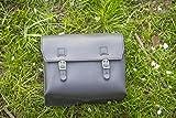 Große Tasche aus echtem Leder Sattel/Lenker/Rahmen Moto Tasche (schwarz) 23x 19,5x 11cm Motorrad Moped