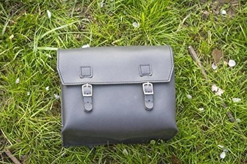 London Craftwork Große Tasche aus echtem Leder, Sattel/Lenker/Rahmen, Motorradtasche (schwarz), 23 x 19,5 x 11 cm, für Motorrad, Moped, XXL-BL
