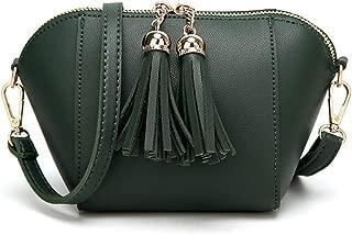 Portable New Women's Solid Color Tassel Leather Bag Simple Fashion PU Shoulder Bag Handbag Cute Adjustable Shoulder Strap Messenger Bag (Color : Green)