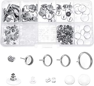 40pcs Stainless Steel Stud Earring Cabochon Setting Post Cup Fit for 6mm 8mm 10mm 12mm, 20pcs Glass Cabochons, 150pcs Rubb...