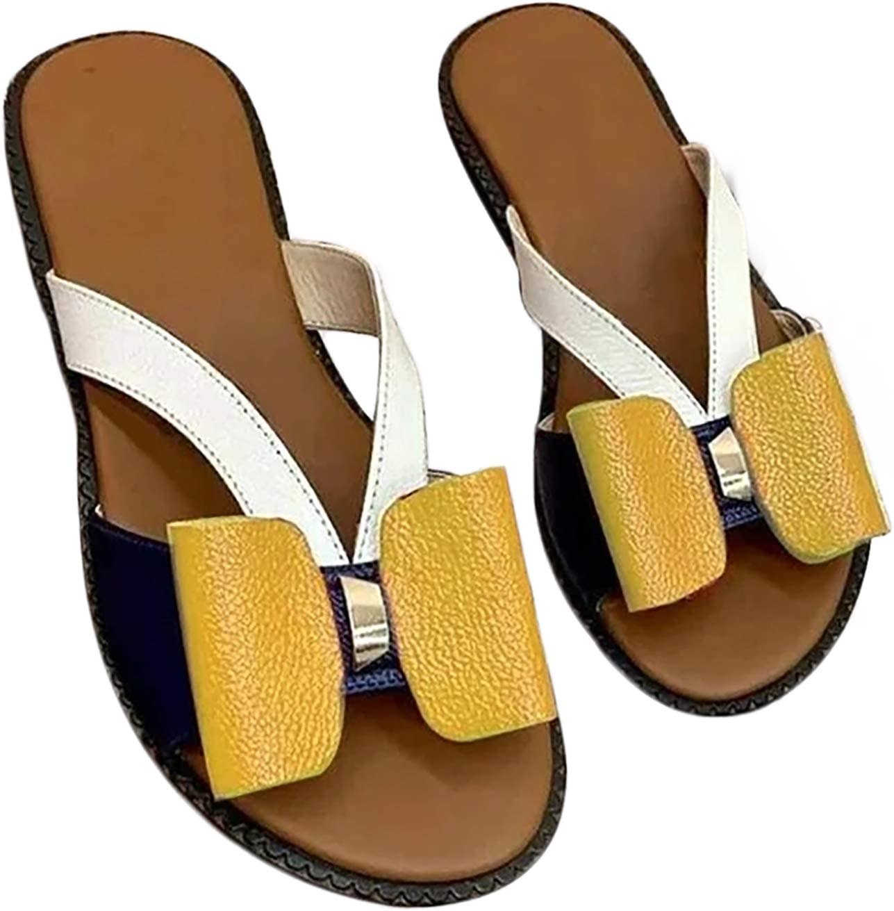 Auralto Fashionable Bow Slippers for Women Comfortable Open Toe Slide with Cute Bow Sandals Beach Flat for Outdoor