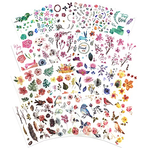 24 Sheets Watercolor Flowers Birds Leaf Stickers for Scrapbooking Album Diary Laptops Cup DIY Arts Crafts