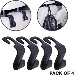 KURTZY Car Backseat Head Rest Hook/Hanger, Plastic Hanging Storage Holder for Groceries, Handbags, Coat, Purse and Bags - (Pack of 4) - Black