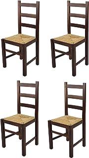 t m c s Tommychairs - Set 4 sillas Rustica para Cocina y Comedor, Estructura en Madera de Haya Color Nogal Oscuro y Asiento en Paja