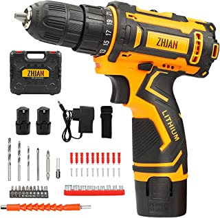 ZHJAN 12V Cordless Combi Drills Electric,with Two 1.5Ah Lithium Batteries,1 Hour Fast Charger,25Nm,with 36 Kinds of Access...